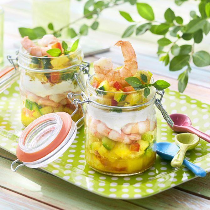 bocal entrée fraicheur crevettes légumes photo film stylisme culinaire recette food style rhone lyon