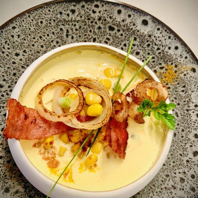crème de maïs bacon oignon photo film stylisme culinaire recette food style rhone lyon
