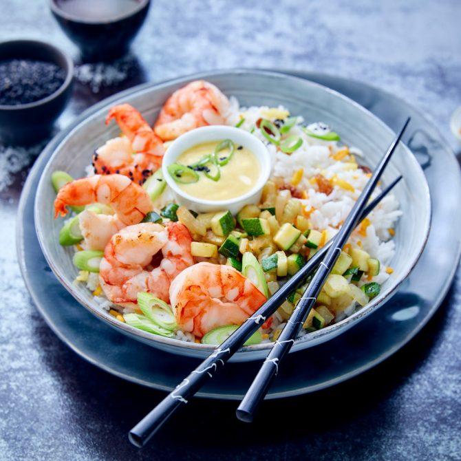 poke bowl crevette légumes riz photo film stylisme culinaire recette food style rhone lyon